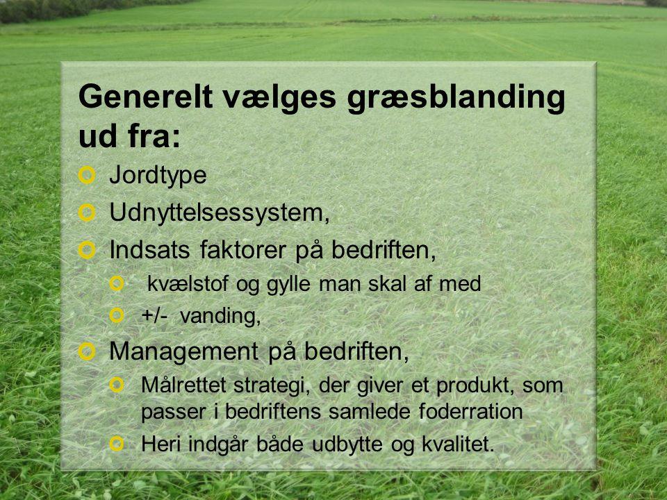 Generelt vælges græsblanding ud fra: