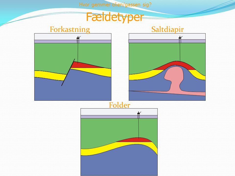 Fældetyper Hvor gemmer olien/gassen sig Forkastning Saltdiapir Folder