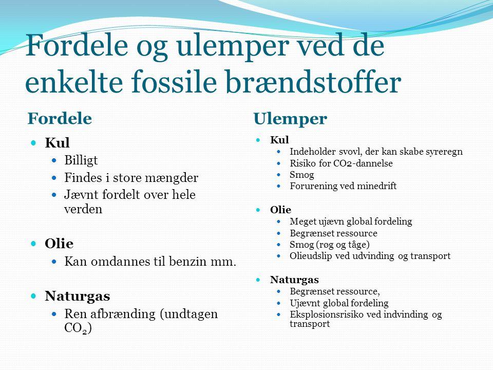 Fordele og ulemper ved de enkelte fossile brændstoffer