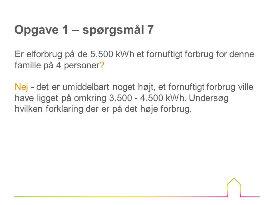 Opgave 1 – spørgsmål 7 Er elforbrug på de 5.500 kWh et fornuftigt forbrug for denne familie på 4 personer