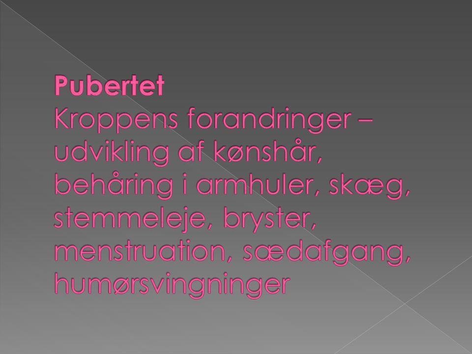 Pubertet Kroppens forandringer – udvikling af kønshår, behåring i armhuler, skæg, stemmeleje, bryster, menstruation, sædafgang, humørsvingninger