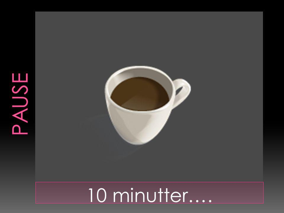 PAUSE 10 minutter….