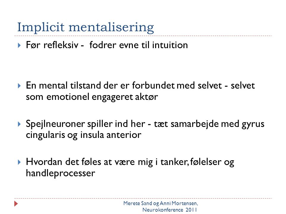Implicit mentalisering