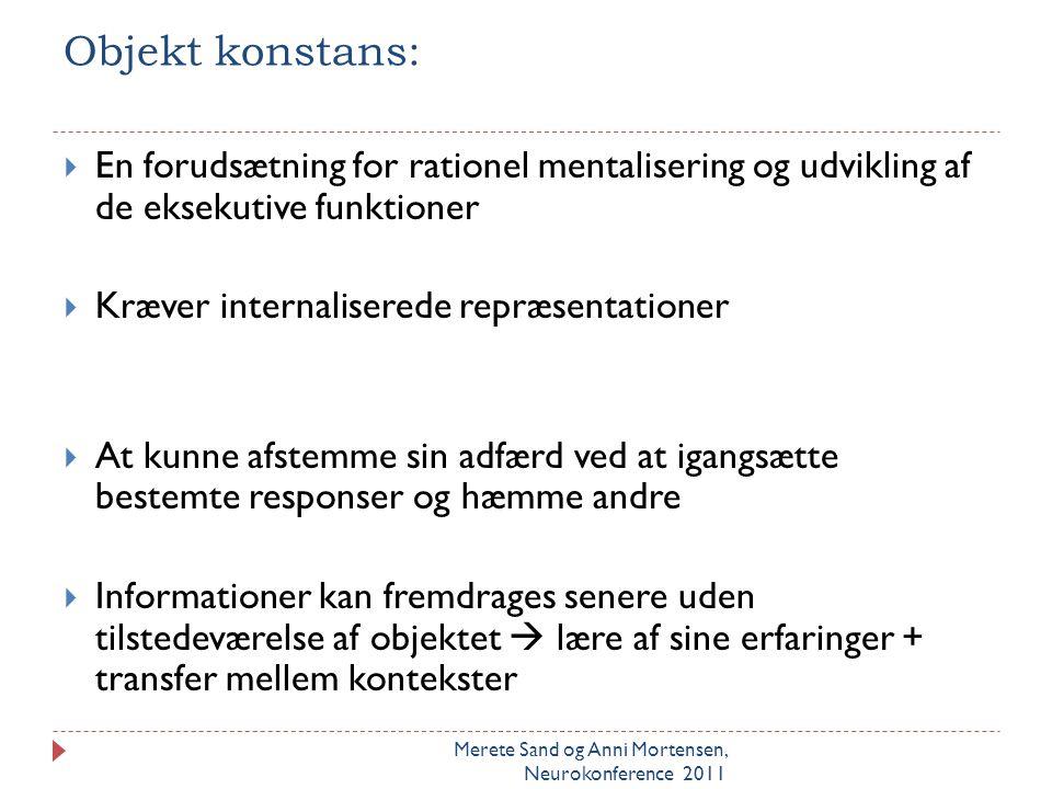 Objekt konstans: En forudsætning for rationel mentalisering og udvikling af de eksekutive funktioner.