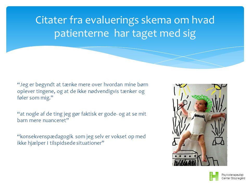 Citater fra evaluerings skema om hvad patienterne har taget med sig