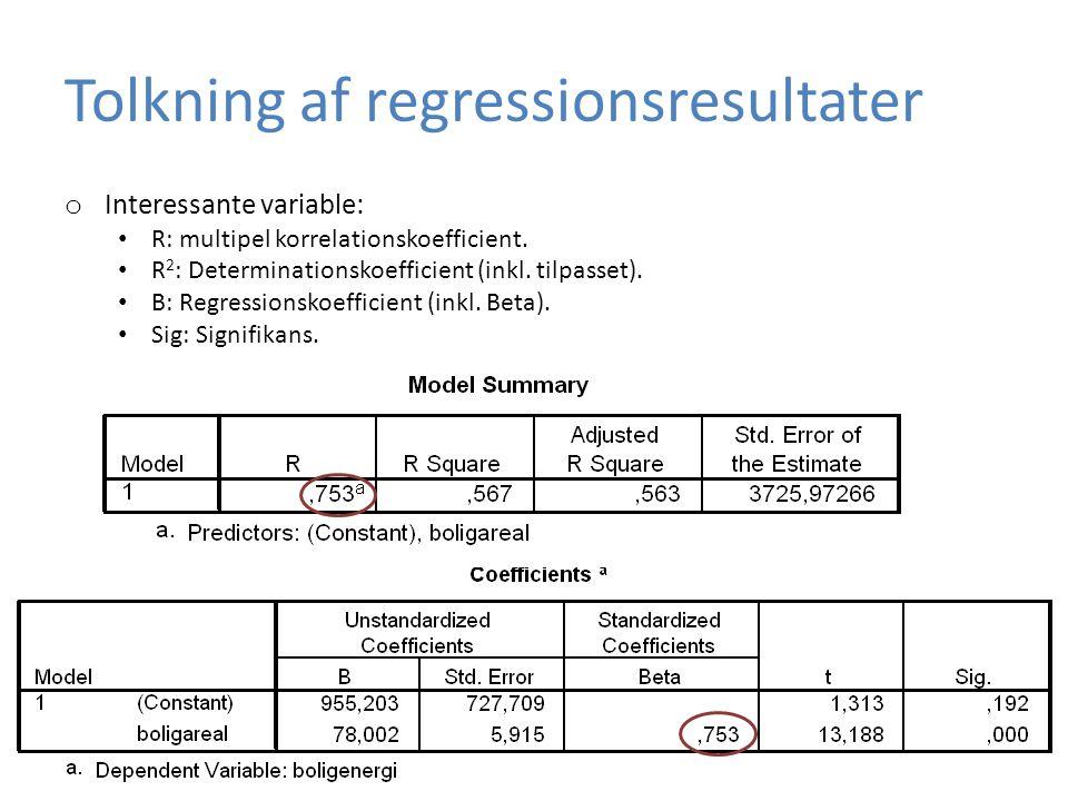 Tolkning af regressionsresultater