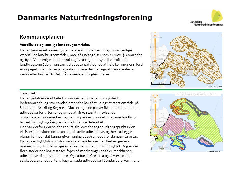 Kommuneplanen: Værdifulde og særlige landbrugsområder.