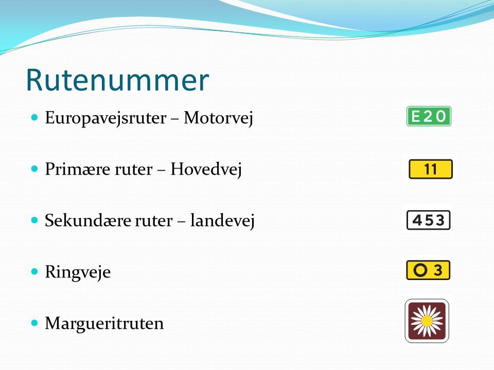 Rutenummer Europavejsruter – Motorvej Primære ruter – Hovedvej