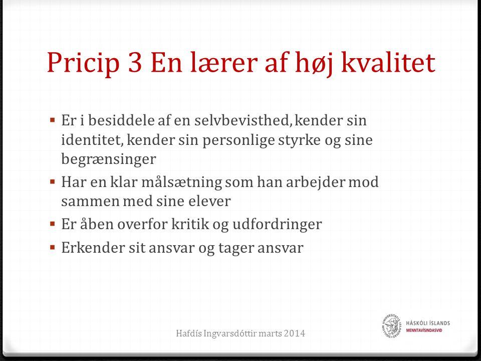 Pricip 3 En lærer af høj kvalitet