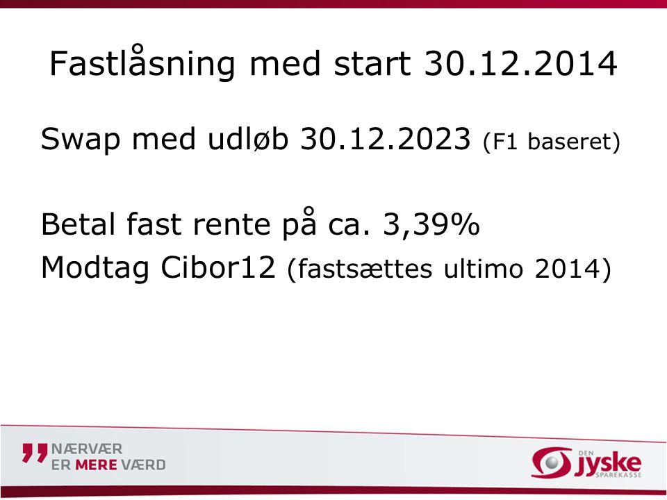 Fastlåsning med start 30.12.2014 Swap med udløb 30.12.2023 (F1 baseret) Betal fast rente på ca.