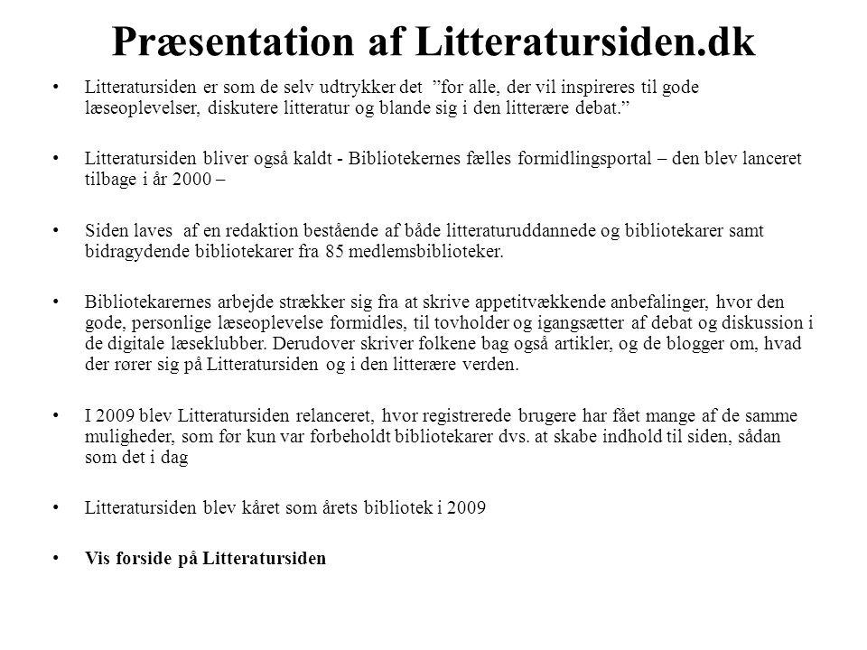 Præsentation af Litteratursiden.dk