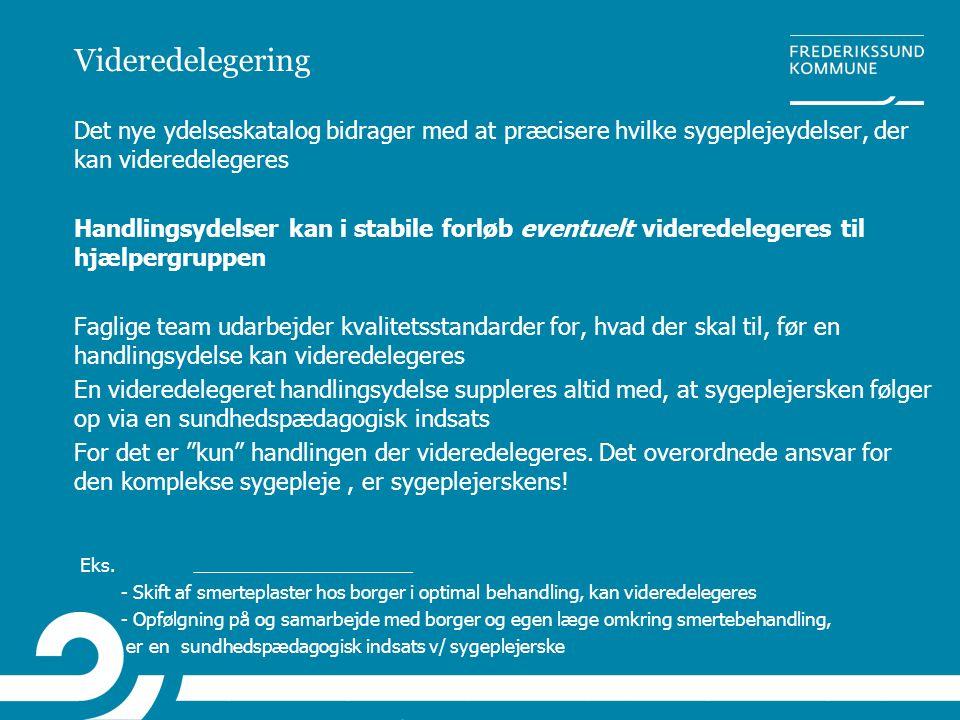 Videredelegering Det nye ydelseskatalog bidrager med at præcisere hvilke sygeplejeydelser, der kan videredelegeres.