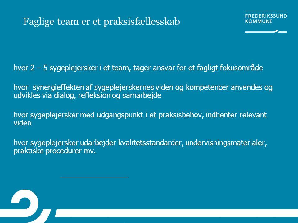 Faglige team er et praksisfællesskab