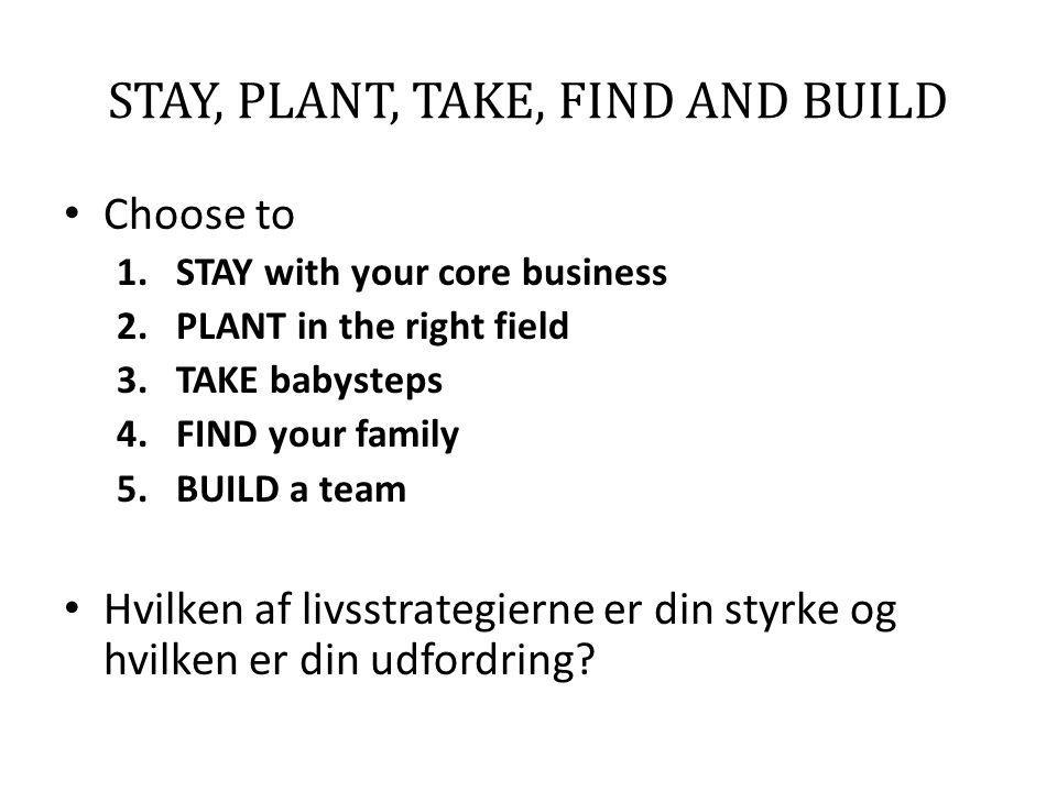 STAY, PLANT, TAKE, FIND AND BUILD