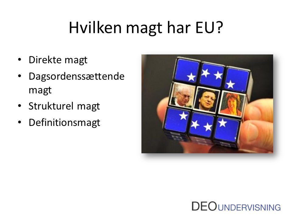Hvilken magt har EU Direkte magt Dagsordenssættende magt