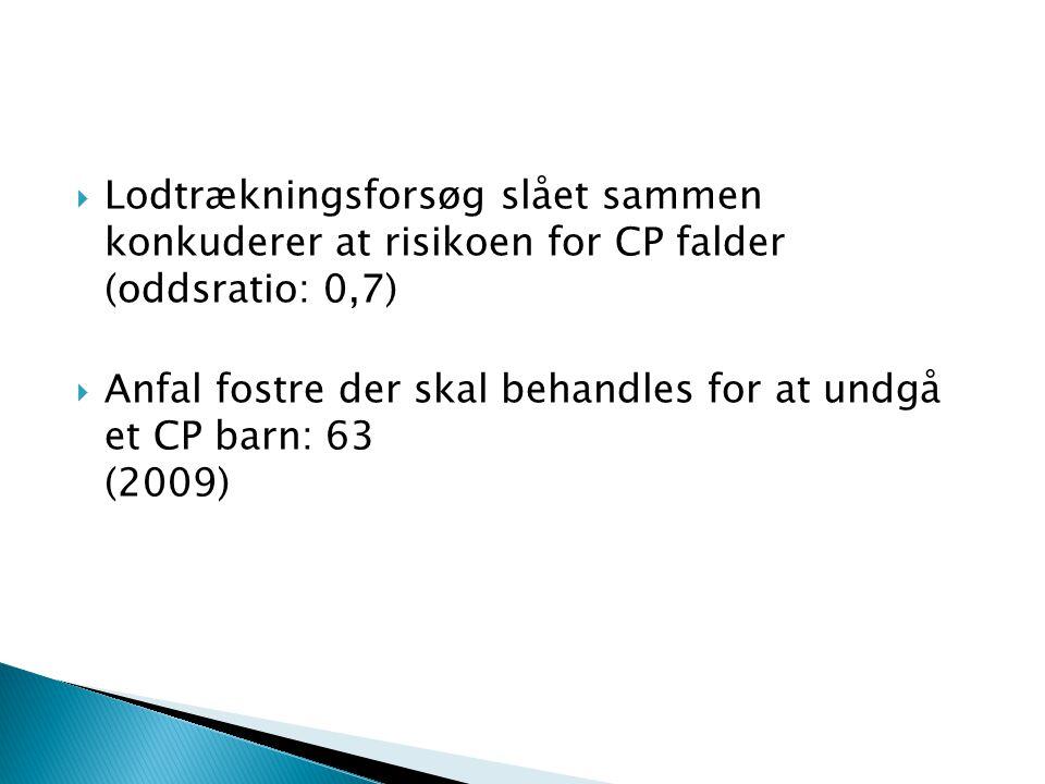 Lodtrækningsforsøg slået sammen konkuderer at risikoen for CP falder (oddsratio: 0,7)