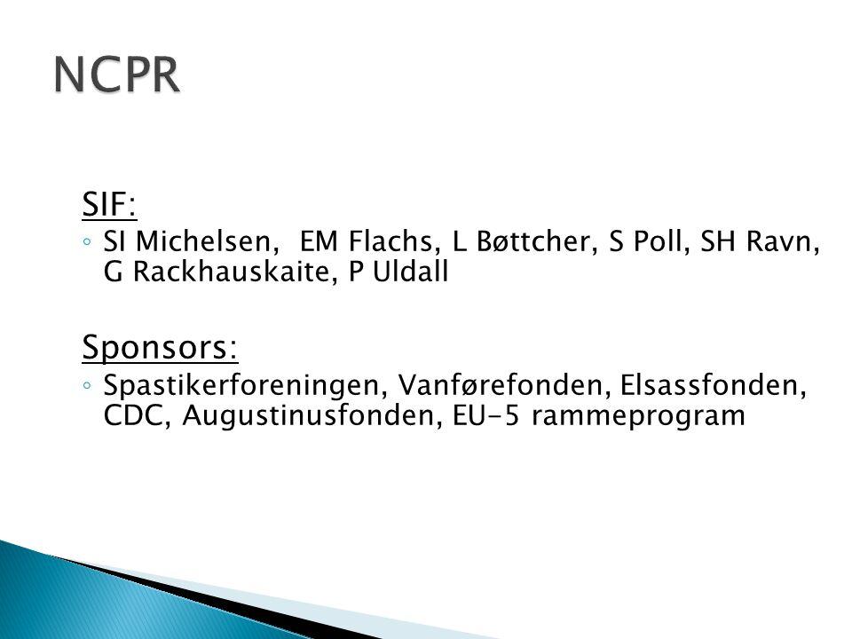 NCPR SIF: SI Michelsen, EM Flachs, L Bøttcher, S Poll, SH Ravn, G Rackhauskaite, P Uldall. Sponsors: