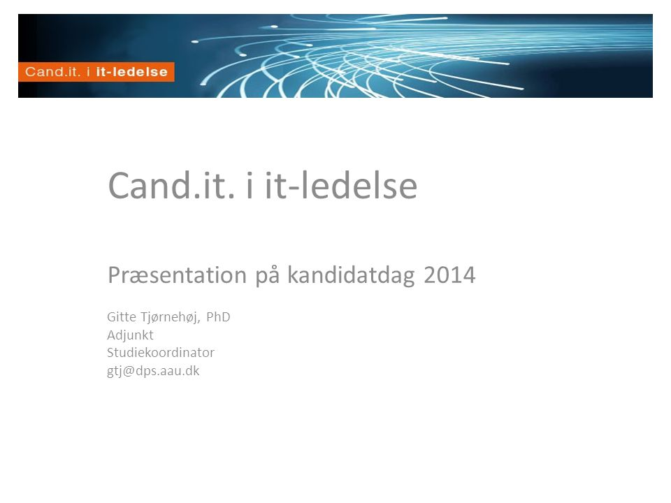 Cand.it. i it-ledelse Velkommen Præsentation på kandidatdag 2014