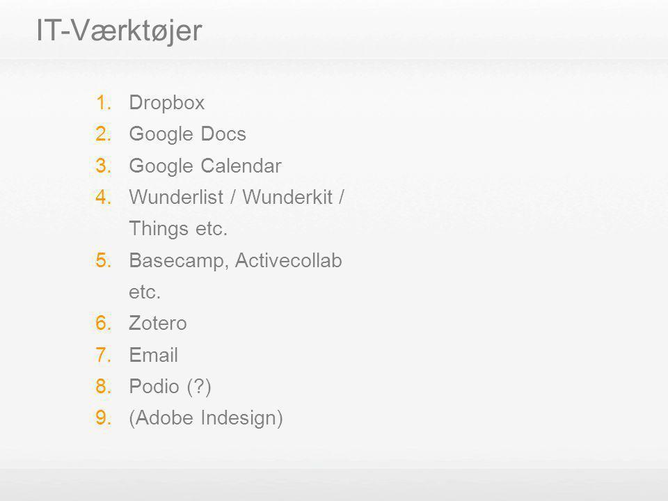 IT-Værktøjer Dropbox Google Docs Google Calendar