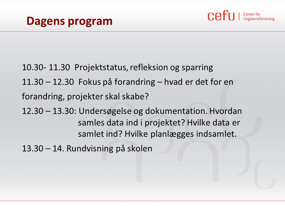 Dagens program 10.30- 11.30 Projektstatus, refleksion og sparring
