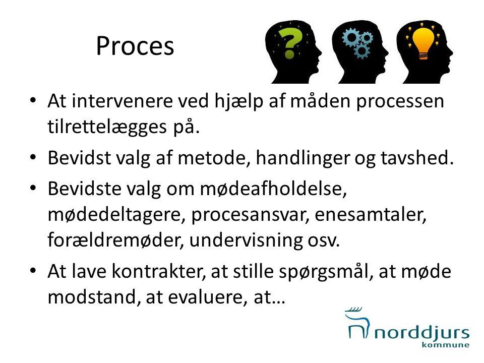 Proces At intervenere ved hjælp af måden processen tilrettelægges på.