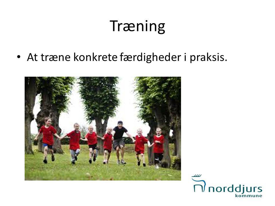 Træning At træne konkrete færdigheder i praksis.