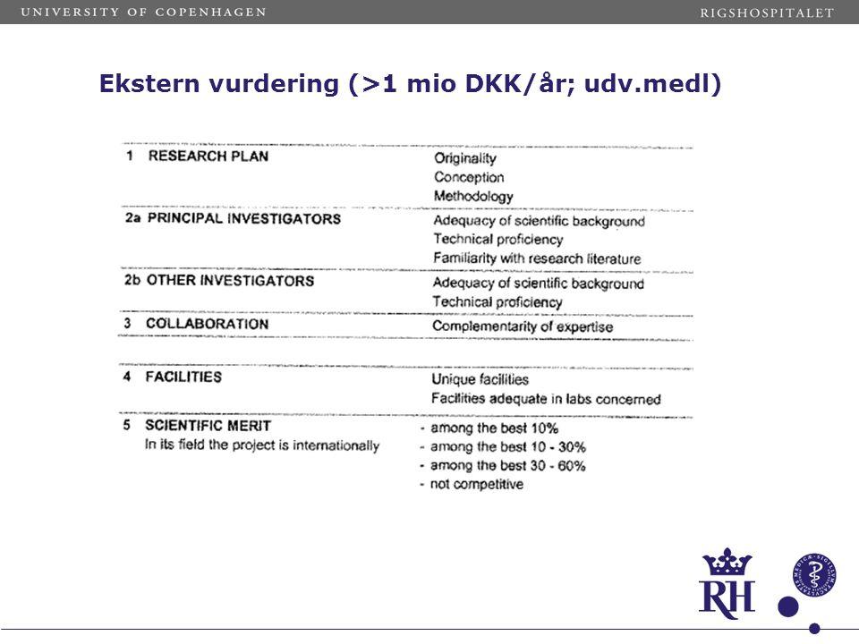 Ekstern vurdering (>1 mio DKK/år; udv.medl)