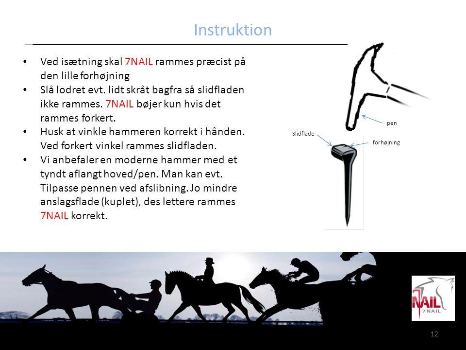 Instruktion Ved isætning skal 7NAIL rammes præcist på den lille forhøjning.