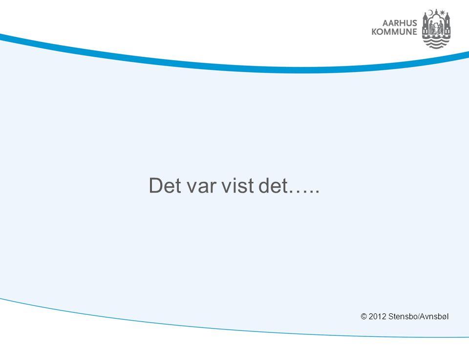 Det var vist det….. © 2012 Stensbo/Avnsbøl