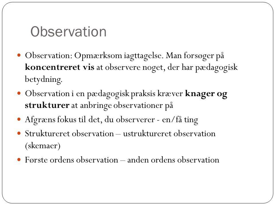 Observation Observation: Opmærksom iagttagelse. Man forsøger på koncentreret vis at observere noget, der har pædagogisk betydning.