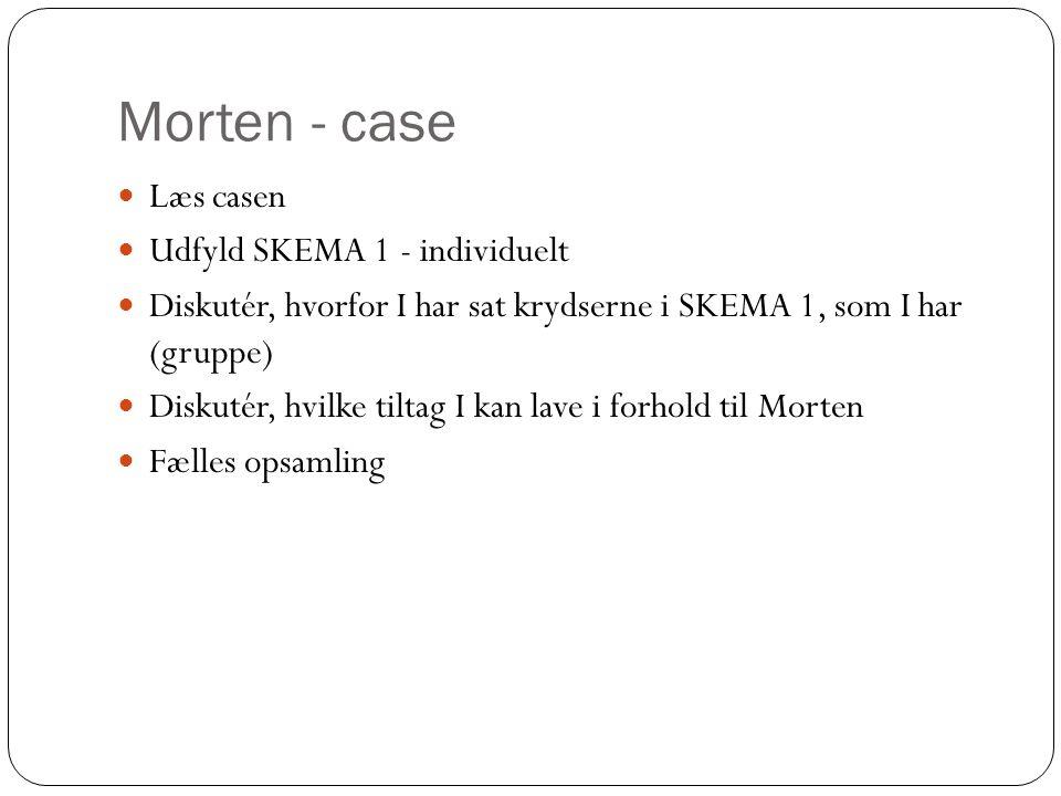 Morten - case Læs casen Udfyld SKEMA 1 - individuelt