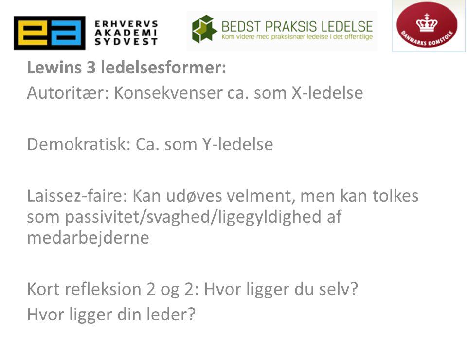 Lewins 3 ledelsesformer: