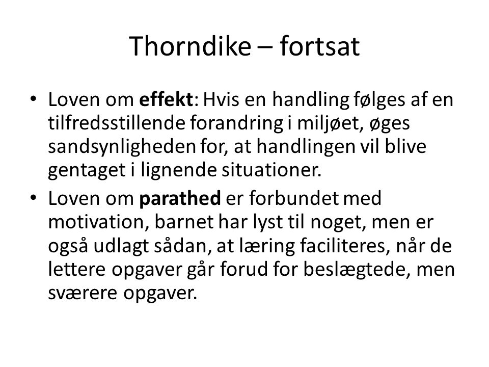 Thorndike – fortsat