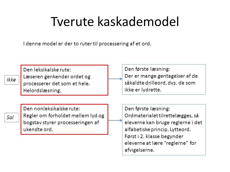 Tverute kaskademodel I denne model er der to ruter til processering af et ord. Den leksikalske rute: