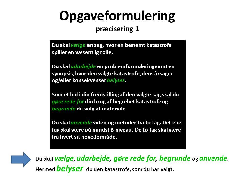 Opgaveformulering præcisering 1