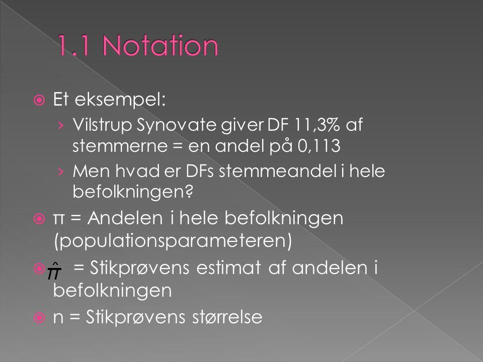 1.1 Notation Et eksempel: Vilstrup Synovate giver DF 11,3% af stemmerne = en andel på 0,113. Men hvad er DFs stemmeandel i hele befolkningen