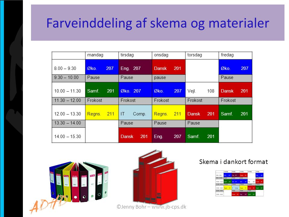Farveinddeling af skema og materialer