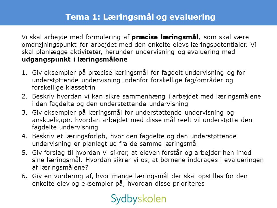 Tema 1: Læringsmål og evaluering