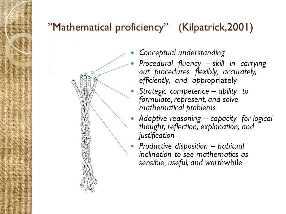 Mathematical proficiency (Kilpatrick,2001)