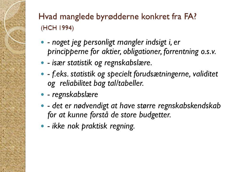 Hvad manglede byrødderne konkret fra FA (HCH 1994)
