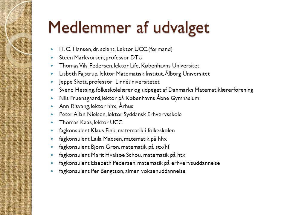 Medlemmer af udvalget H. C. Hansen, dr. scient. Lektor UCC.(formand)