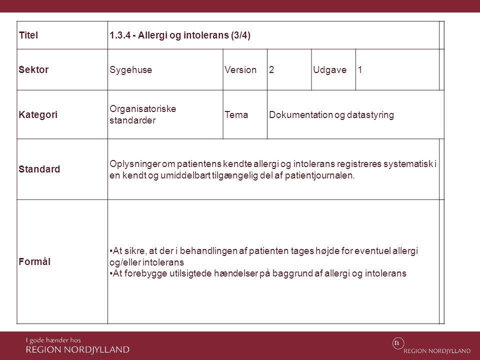 Titel 1.3.4 - Allergi og intolerans (3/4) Sektor. Sygehuse. Version. 2. Udgave. 1. Kategori.