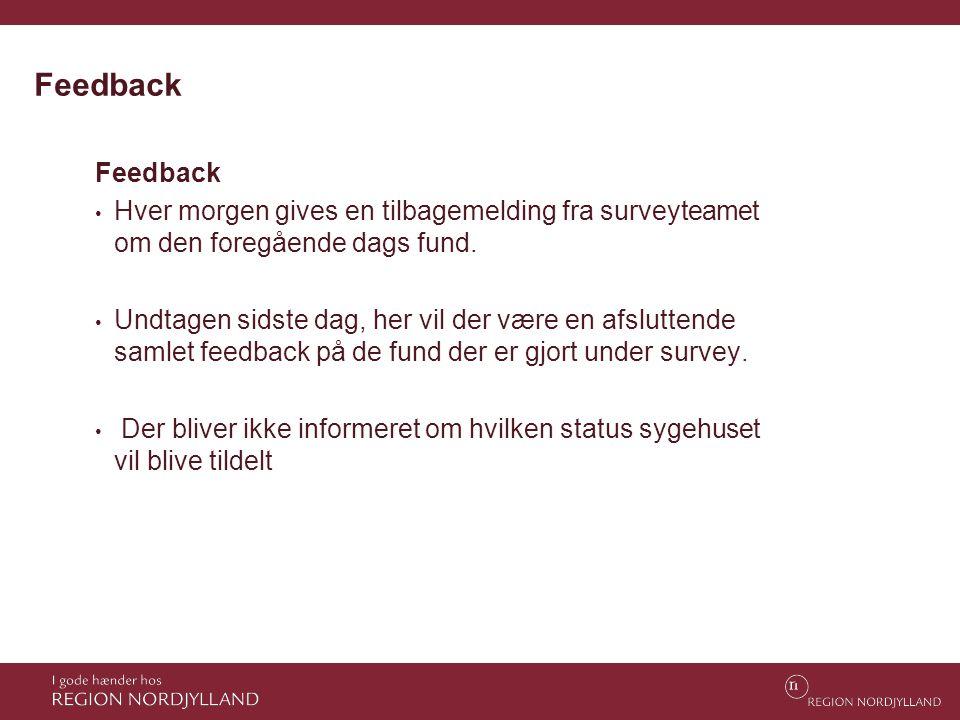 Feedback Feedback. Hver morgen gives en tilbagemelding fra surveyteamet om den foregående dags fund.