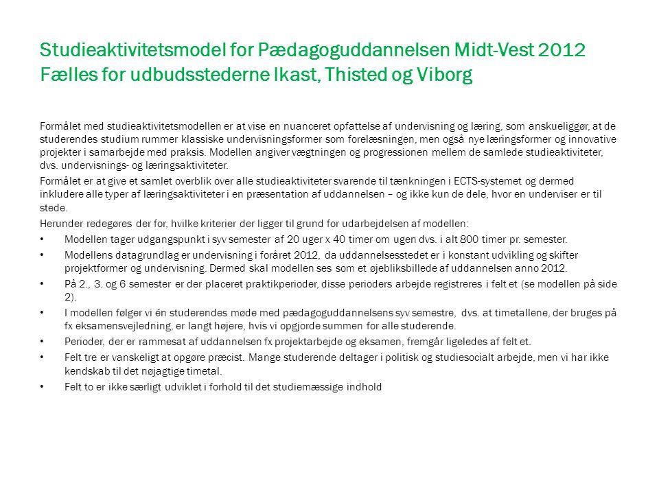 Studieaktivitetsmodel for Pædagoguddannelsen Midt-Vest 2012 Fælles for udbudsstederne Ikast, Thisted og Viborg