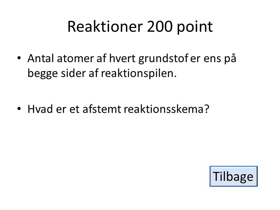 Reaktioner 200 point Tilbage