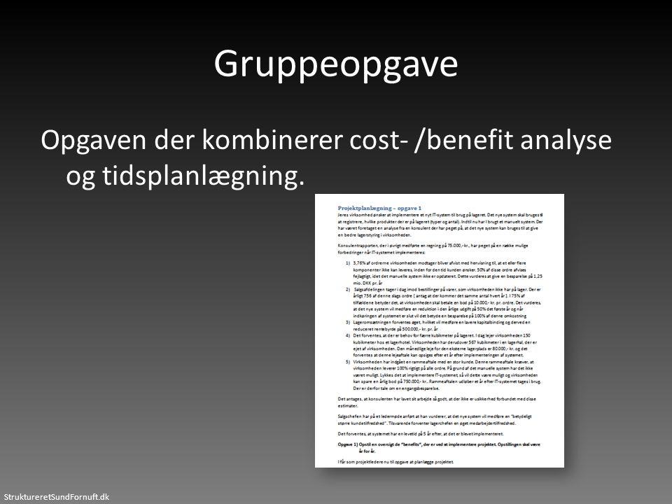 Gruppeopgave Opgaven der kombinerer cost- /benefit analyse og tidsplanlægning.