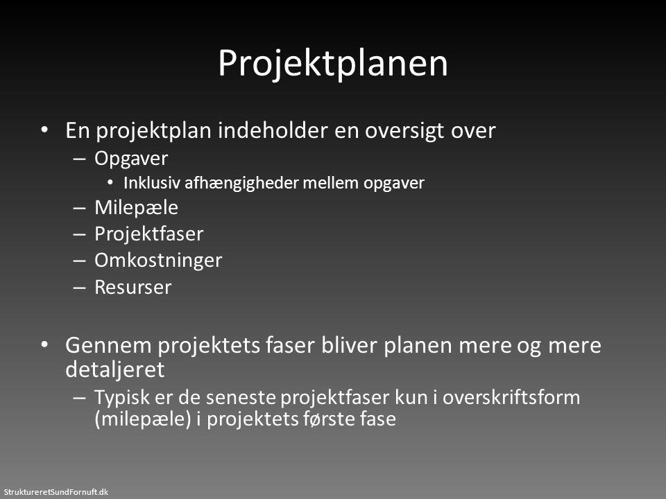 Projektplanen En projektplan indeholder en oversigt over