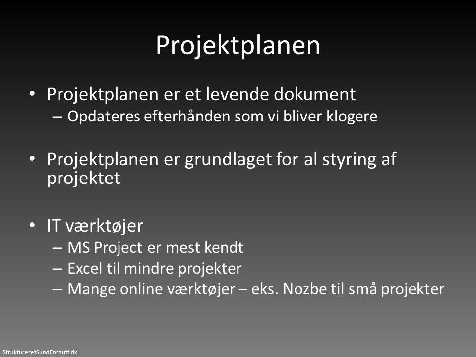 Projektplanen Projektplanen er et levende dokument