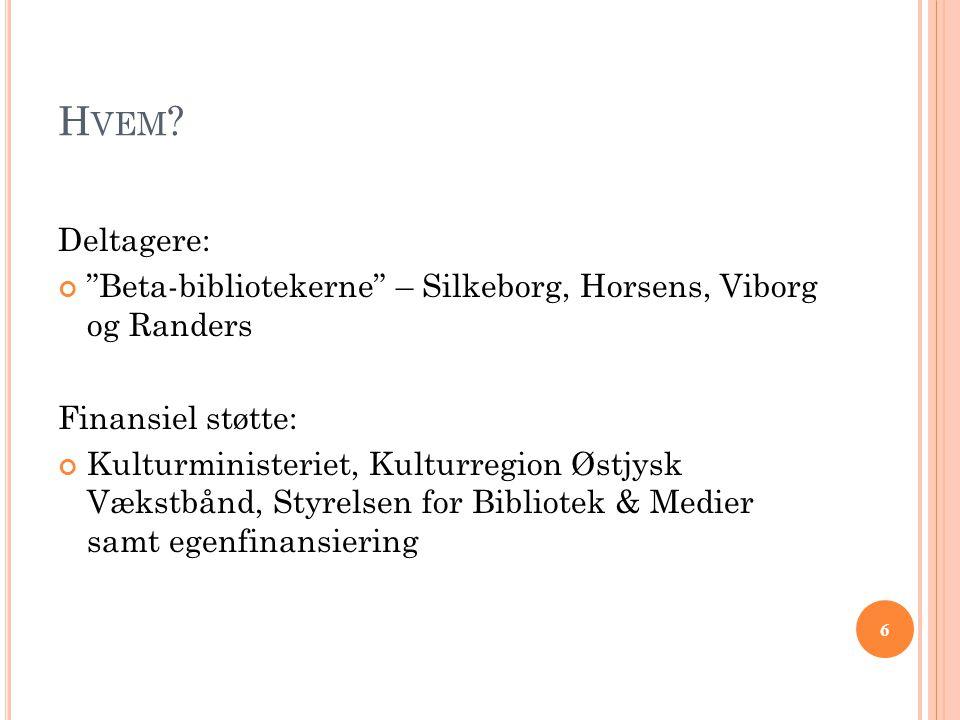 Hvem Deltagere: Beta-bibliotekerne – Silkeborg, Horsens, Viborg og Randers. Finansiel støtte: