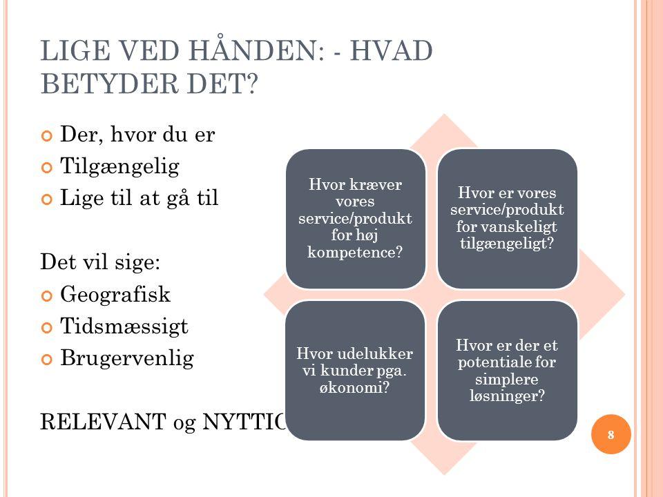 LIGE VED HÅNDEN: - HVAD BETYDER DET